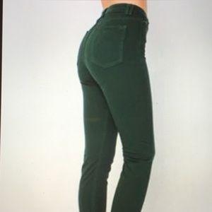 AA green High Waisted Skinny ankle zipper jeans